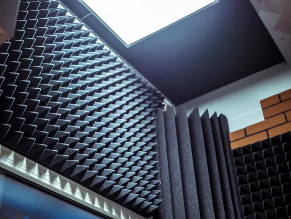 This is a close look at a top corner installed with acoustic foam panels.
