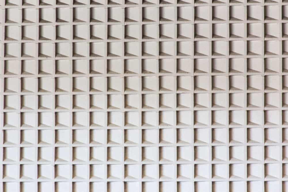 This is a close look at acoustic ceiling baffles.