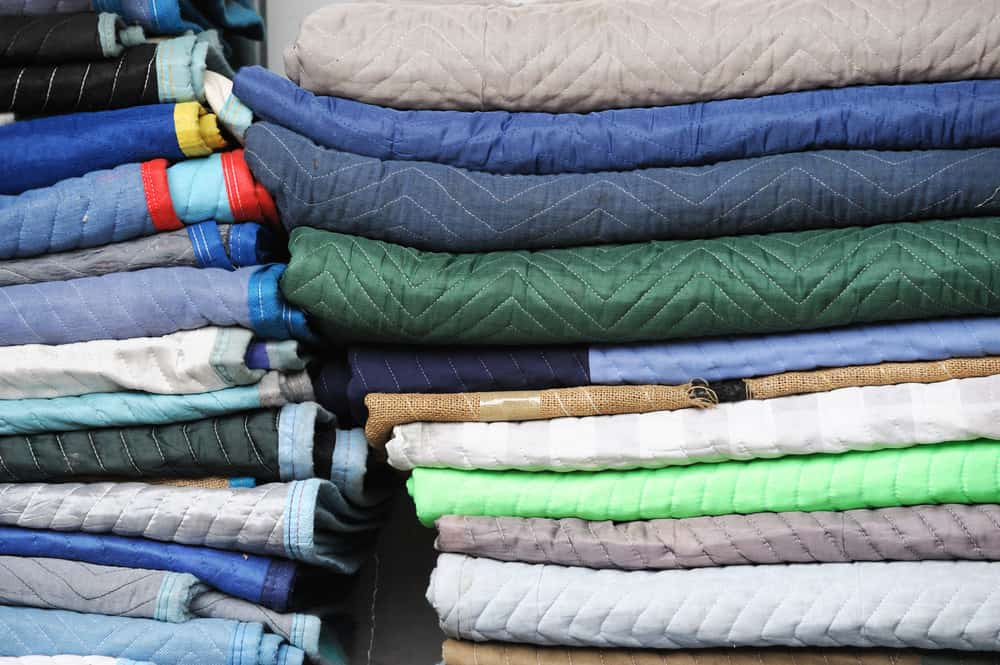 This is a close look at stacks of industrial blankets.