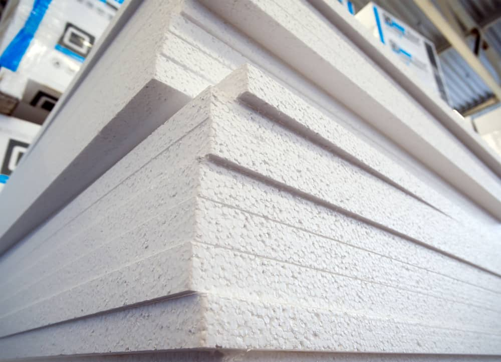 This is a close look at a stack of polystyrene foam panels.