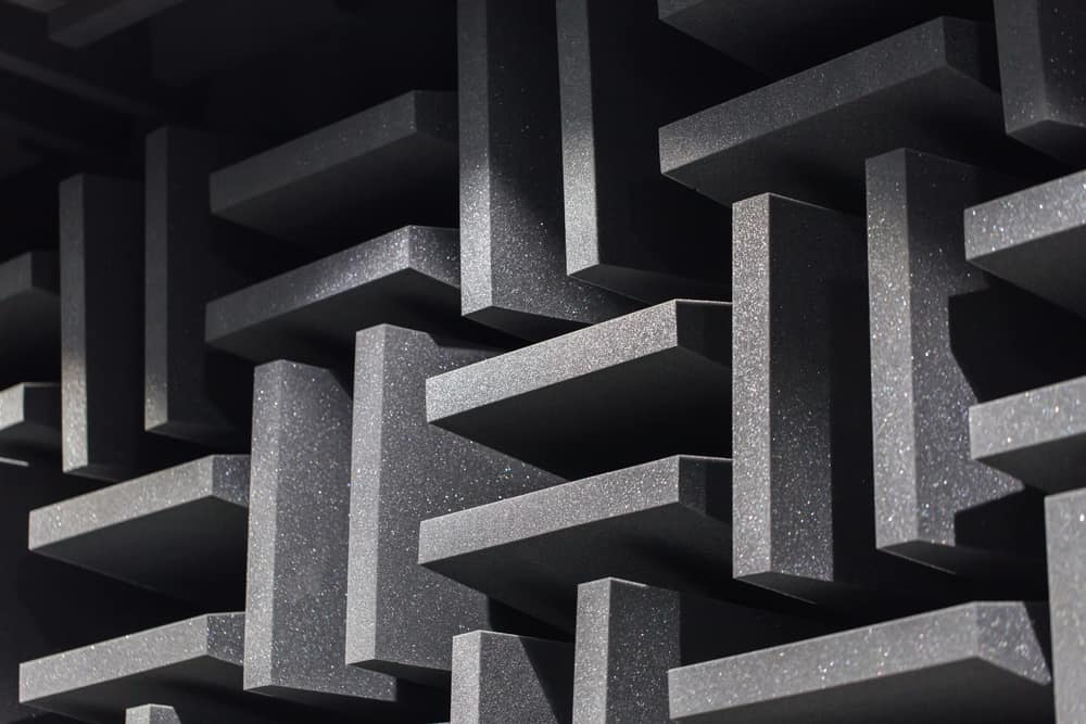 This is a close look at a wall with soundproof foam panels.