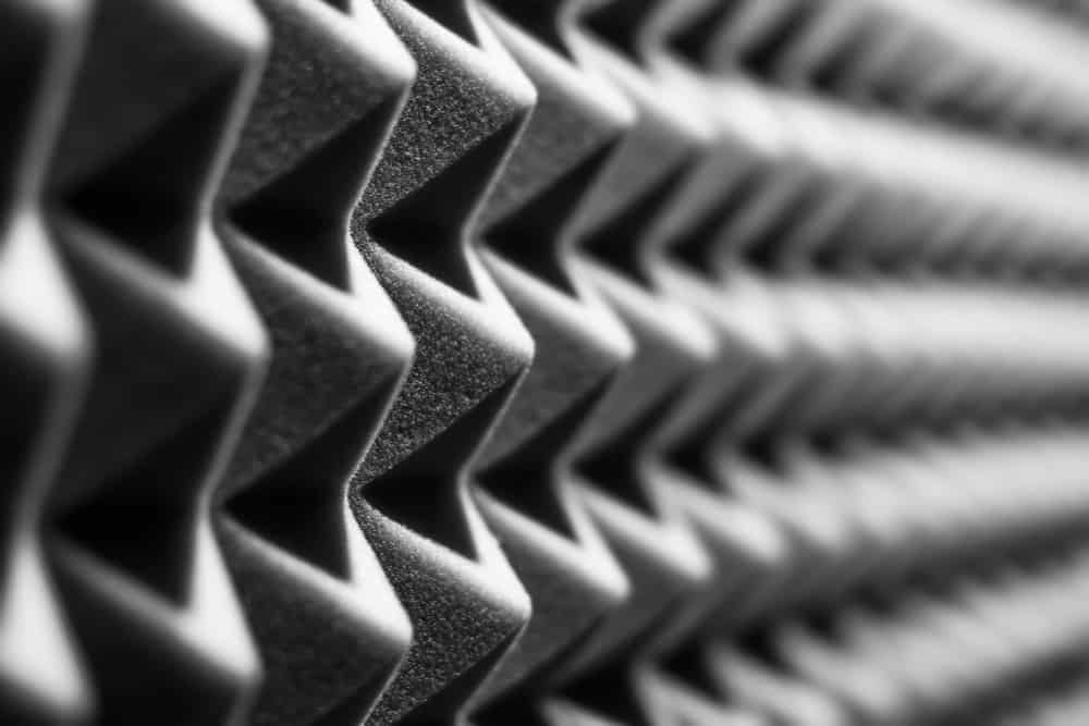 This is a close look at a patterned soundproof wall foam.