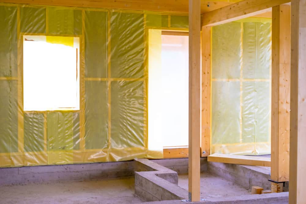 This is a close look at the interior of the house under construction.