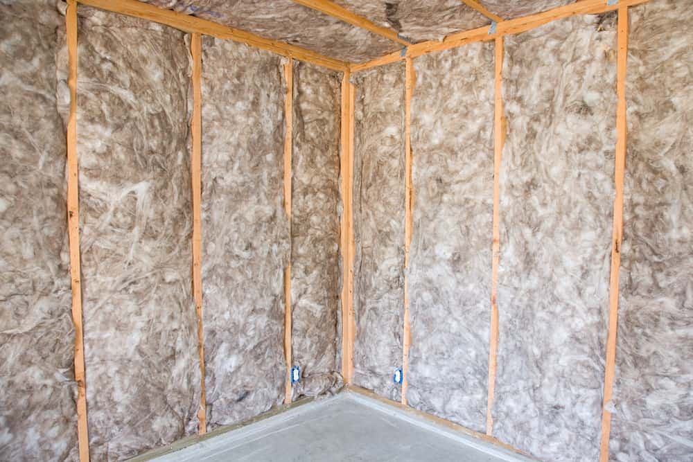 This is a close look at the interior walls with batt insulation.