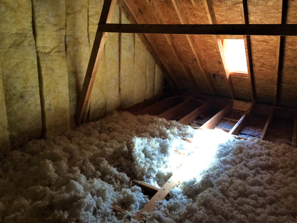 This is a close look at a ceiling with Blown-In Insulation.
