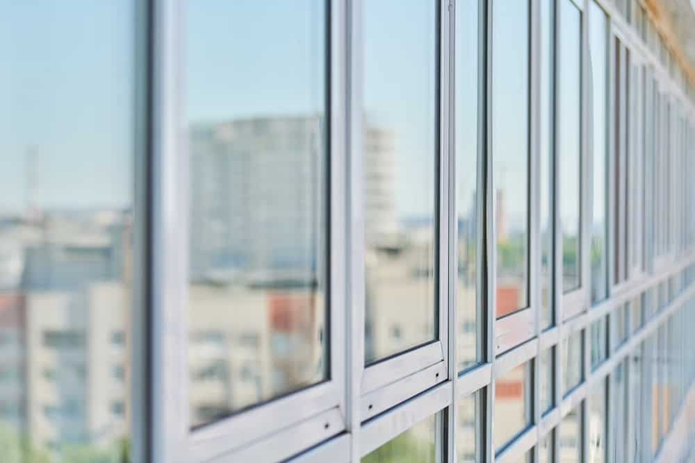 This is a close look at a set of soundproof windows.