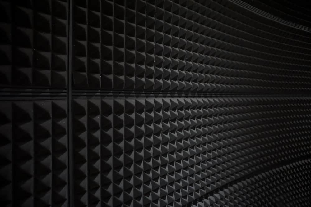 This is a close look at a wall with acoustic panels.