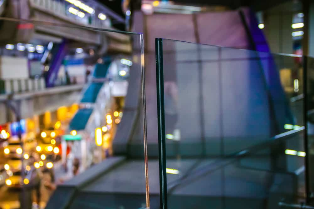 This is a close look at a couple of laminated glass panels.