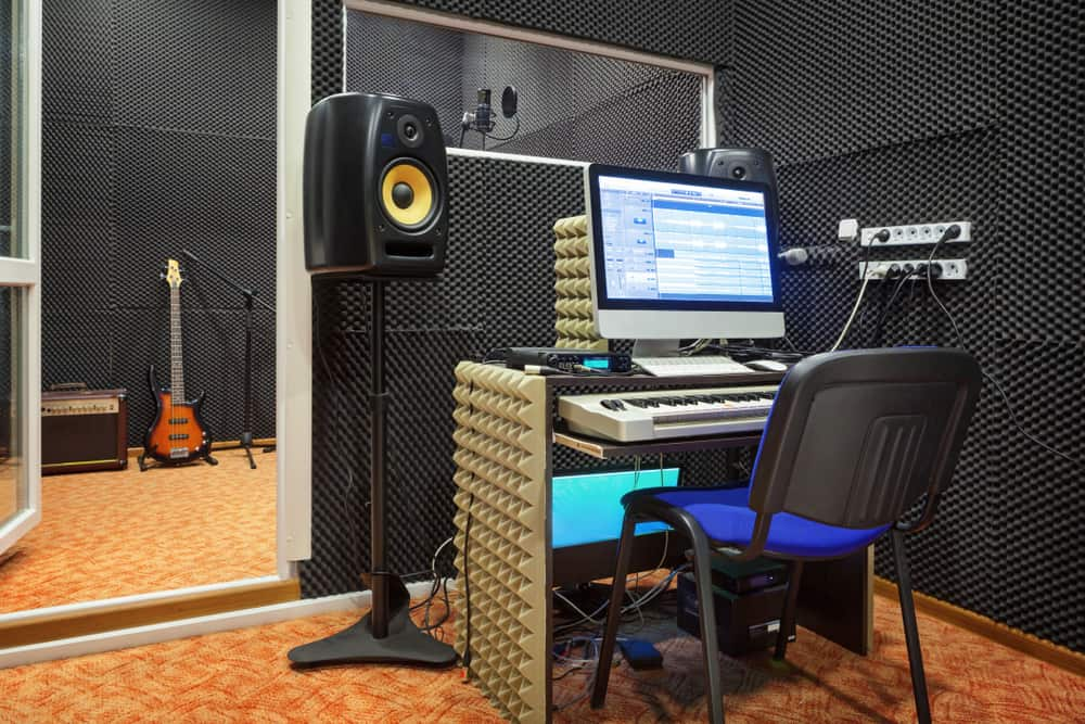 This is a close look at an inner studio room with soundproofing.