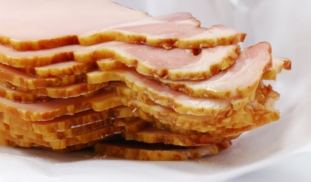 A close look at a pile of Canadian bacon.