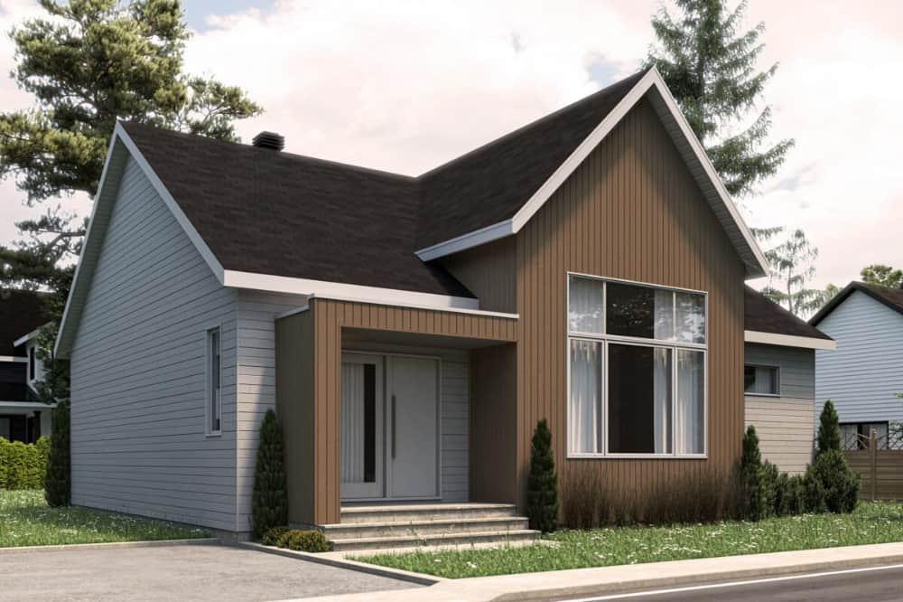 Front rendering of the 2-bedroom single-story modern Scandinavian home.