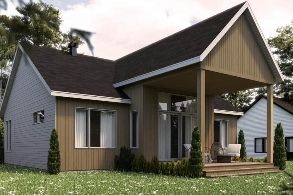 Rear rendering of the 2-bedroom single-story modern Scandinavian home.