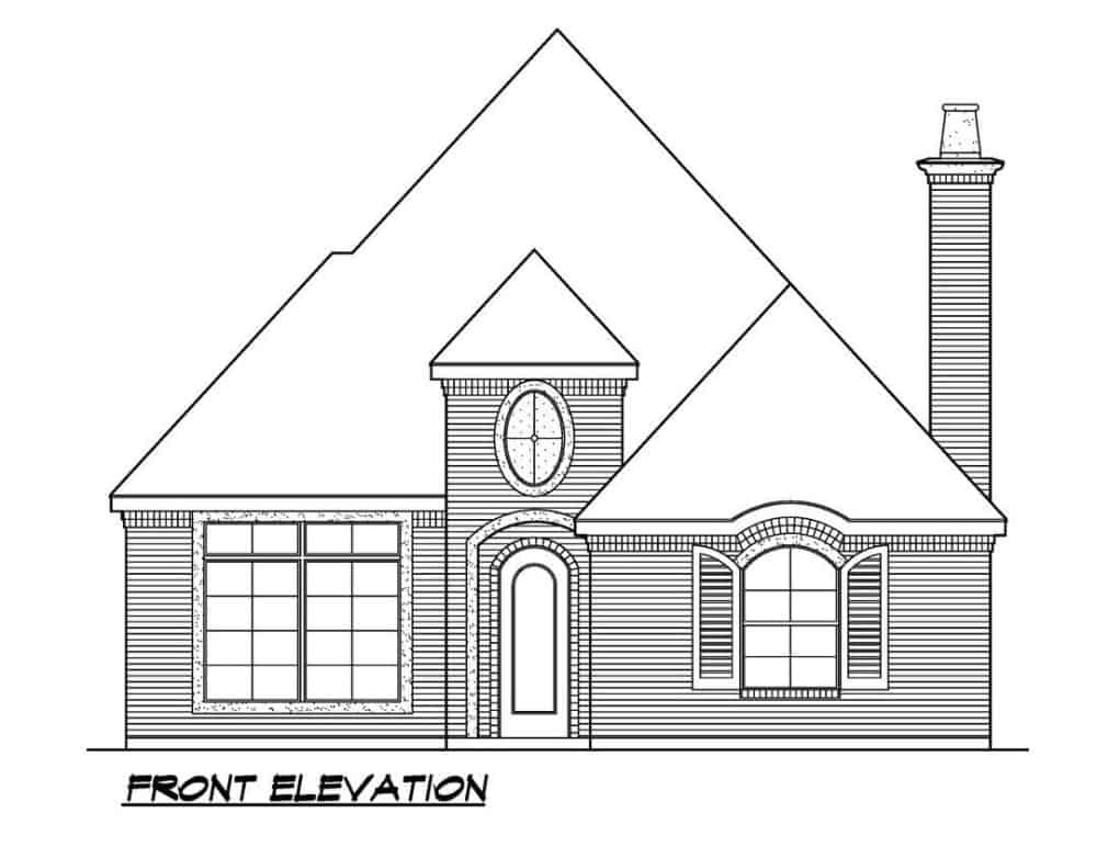 Front elevation sketch of the 2-bedroom single-story Southern ranch.