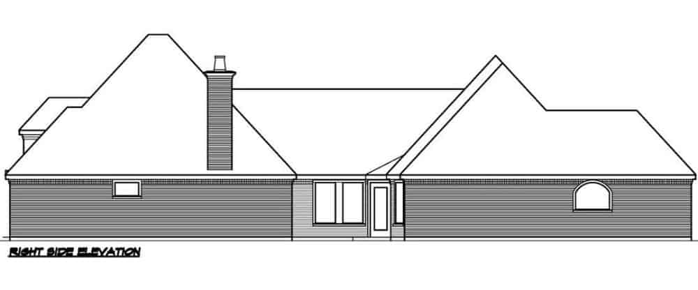 Right elevation sketch of the 2-bedroom single-story Southern ranch.