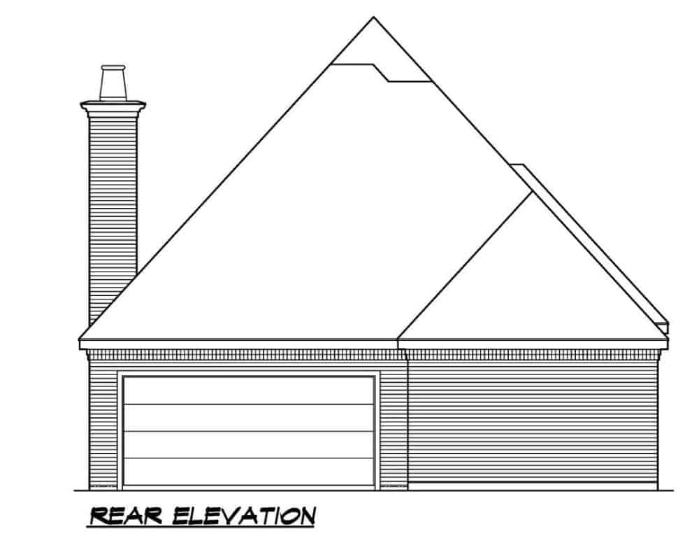 Rear elevation sketch of the 2-bedroom single-story Southern ranch.