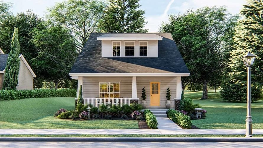 2-Bedroom Two-Story Craftsman Home for a Narrow Lot with Open Concept Living