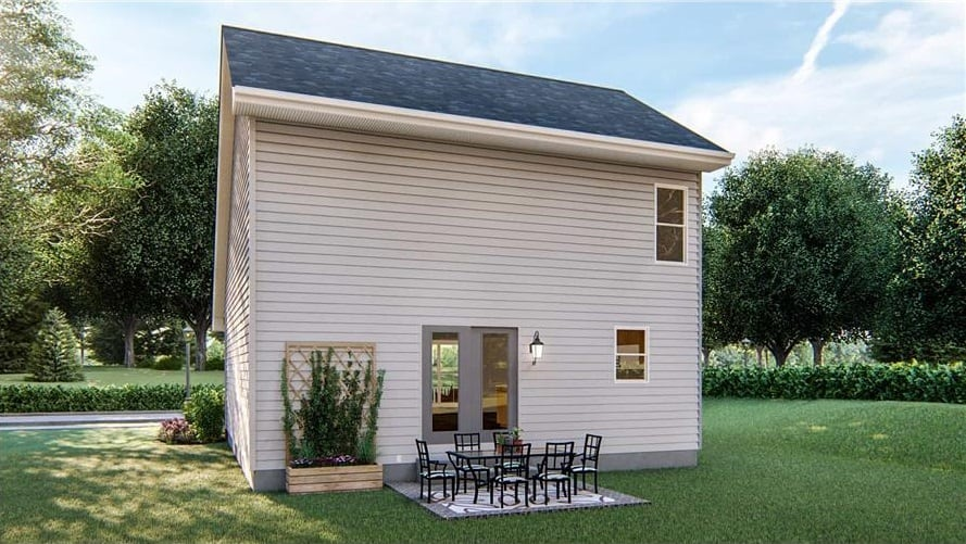 Rear rendering of the 2-bedroom two-story craftsman home.