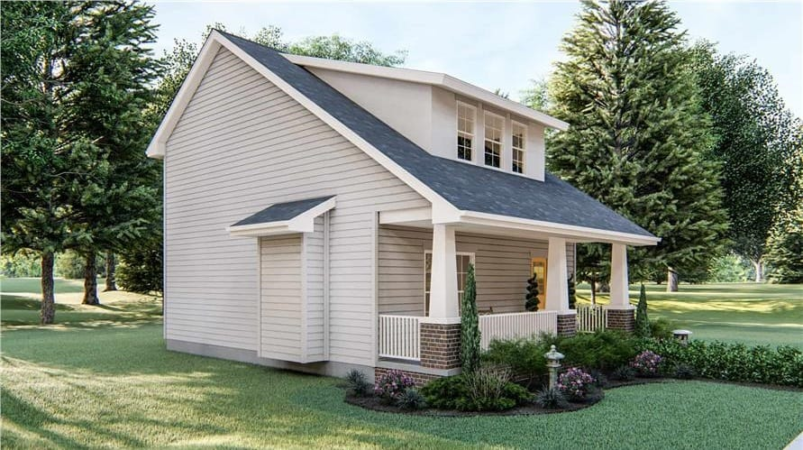 Right rendering of the 2-bedroom two-story craftsman home.