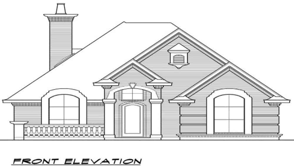 Front elevation sketch of the 3-bedroom single-story traditional style home.