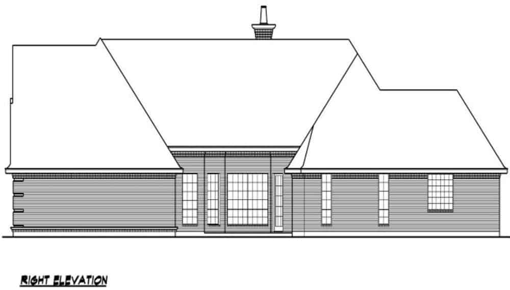 Right elevation sketch of the 3-bedroom single-story traditional style home.