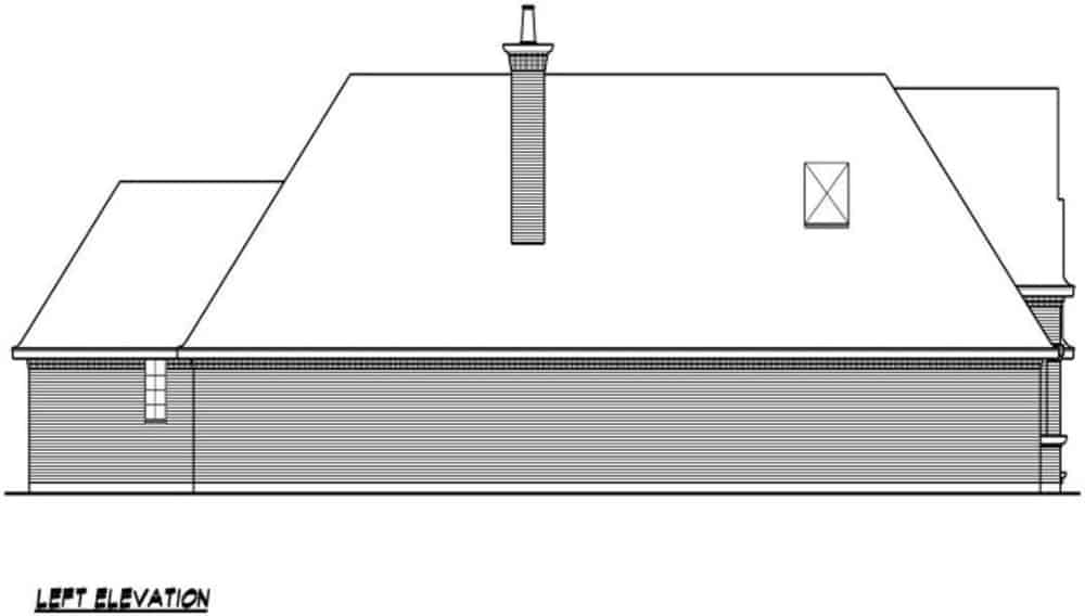 Left elevation sketch of the 3-bedroom single-story traditional style home.