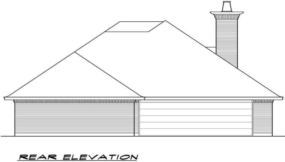 Rear elevation sketch of the 3-bedroom single-story traditional style home.