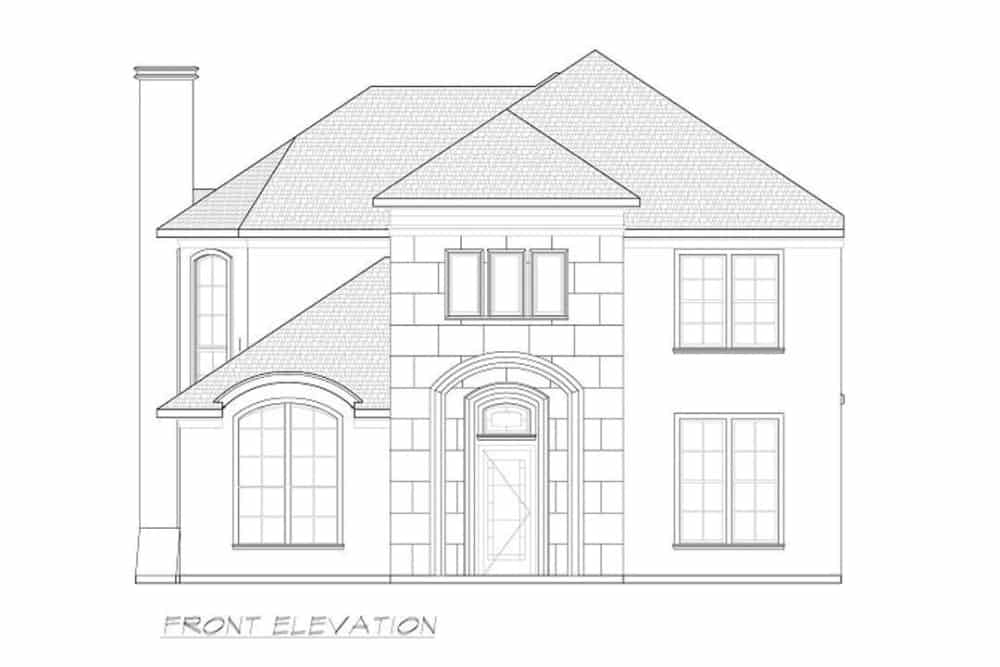 Front elevation sketch of the 3-bedroom two-story contemporary home.