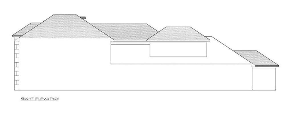 Right elevation sketch of the 3-bedroom two-story contemporary home.