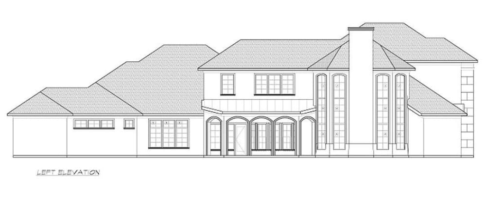 Left elevation sketch of the 3-bedroom two-story contemporary home.