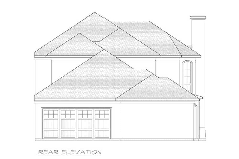 Rear elevation sketch of the 3-bedroom two-story contemporary home.