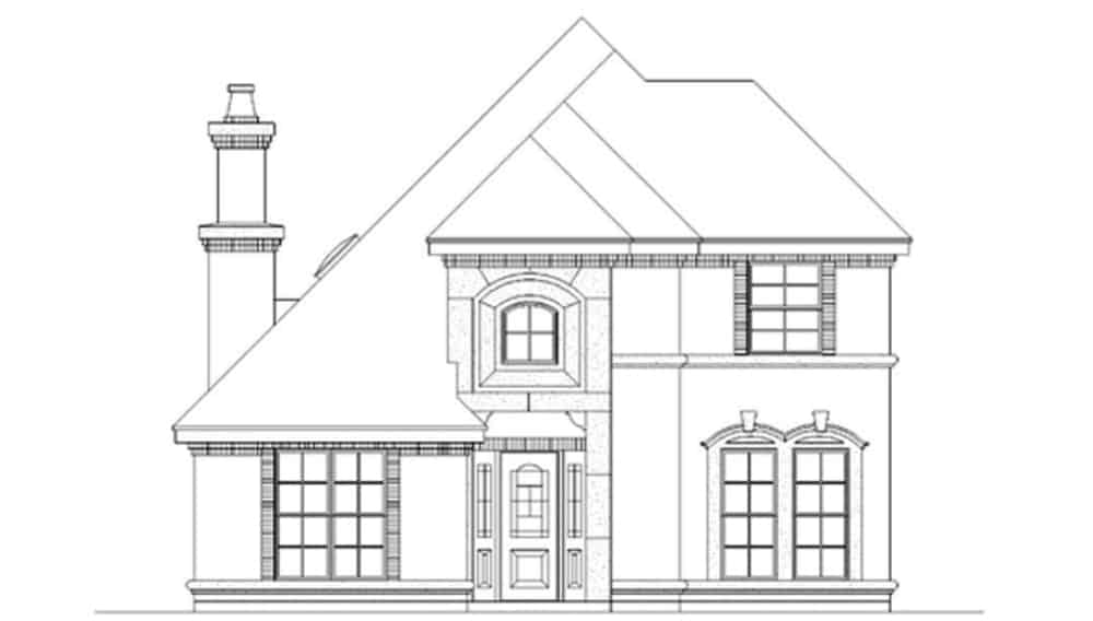 Front elevation sketch of the 3-bedroom two-story traditional home.