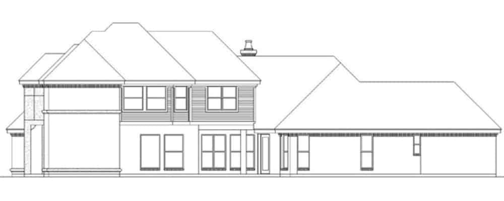 Right elevation sketch of the 3-bedroom two-story traditional home.