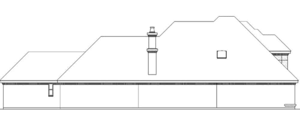 Left elevation sketch of the 3-bedroom two-story traditional home.