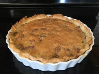 A freshly baked Kentucky Derby Pie fresh from the oven.