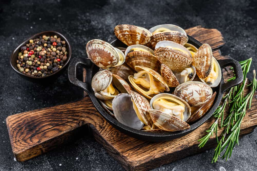 This is a close look at a cooked clams vongole.