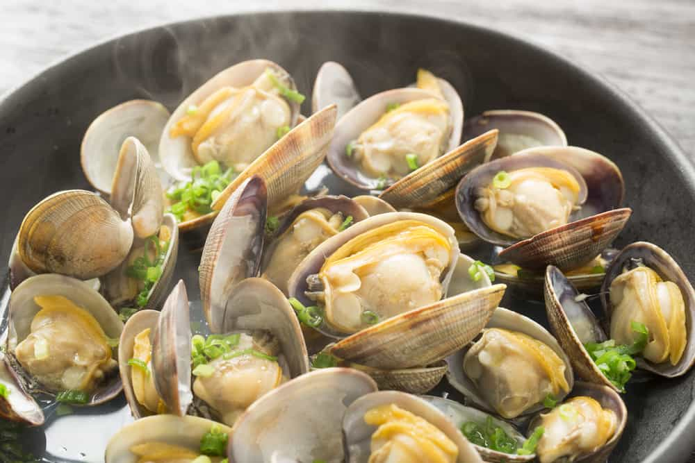 This is a close look at a bunch of freshly cooked steamed clams.