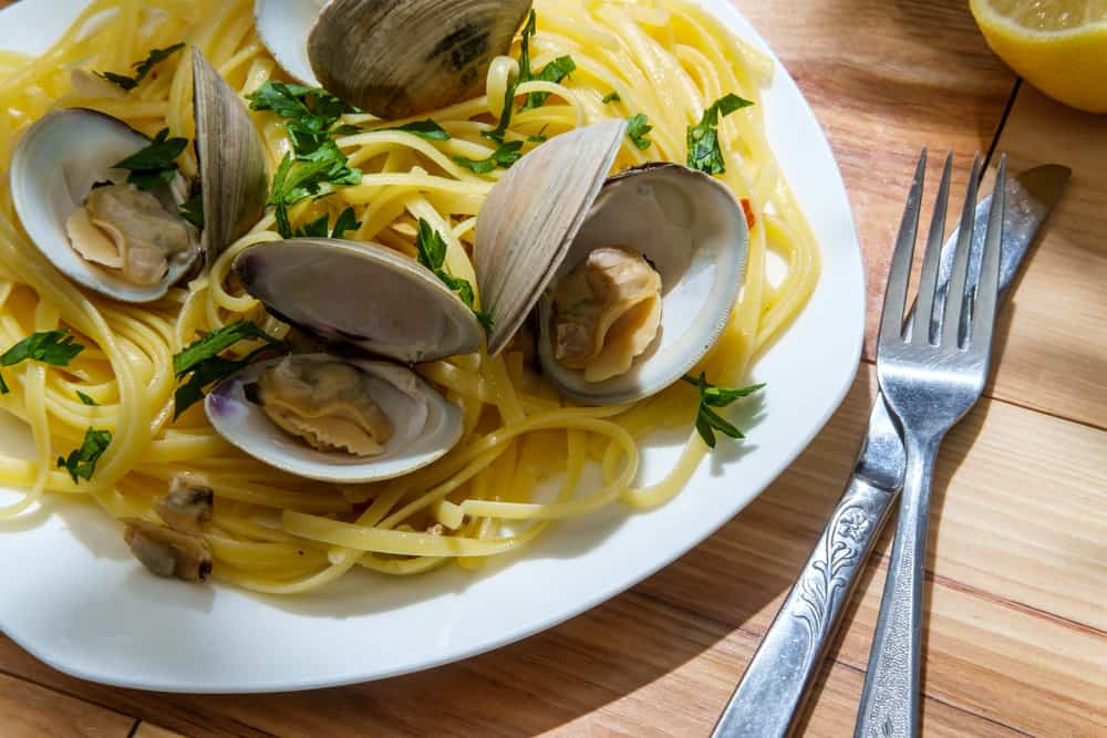 This is a close look at a plate of pasta that has littleneck clams.