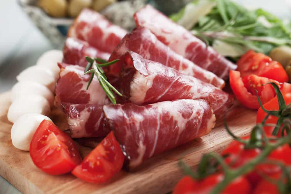 This is a close look at slices of Capicola ham.