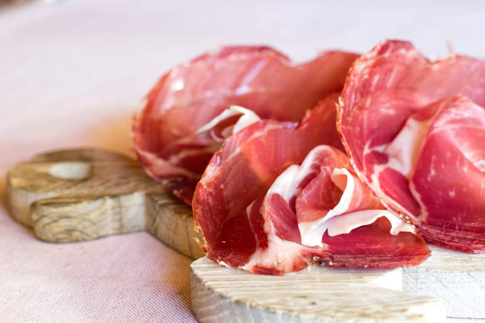 This is a close look at slices of culatello ham.