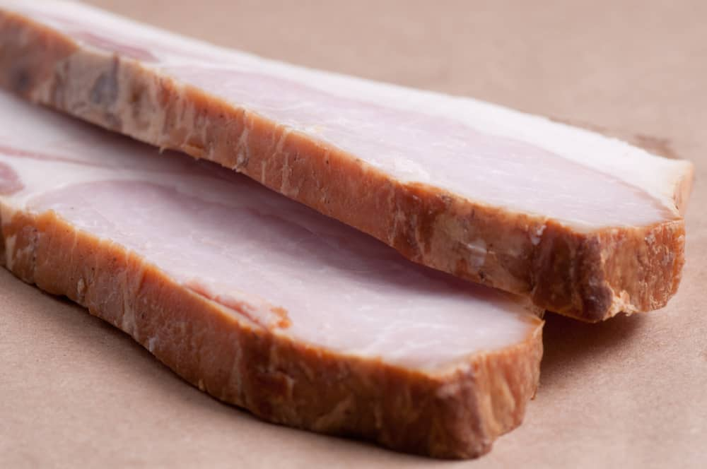 This is a close look at a couple of thick slices of Irish ham.