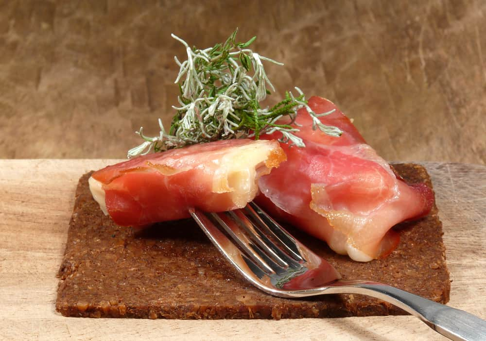 This is a close look at a couple of pieces of Westphalian Ham.