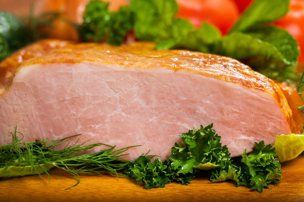 This is a large slab of smoked ham.