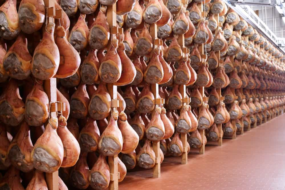 This is a close look at a ham factory with a row of hams hanging to cure.