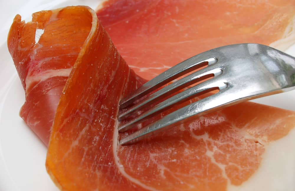 This is a close look at slices of bayonne ham.