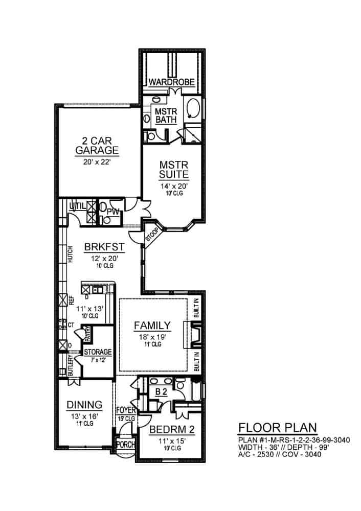 Main level floor plan of a 2-bedroom single-story Southern ranch with foyer, formal dining room, family room, kitchen, breakfast nook, utility room, and a double garage.