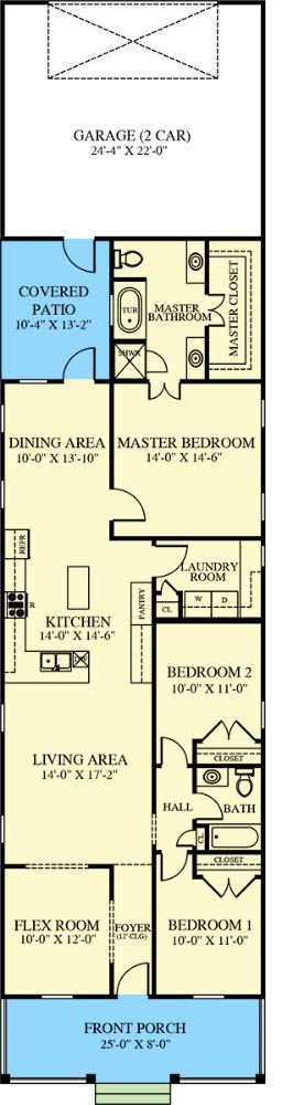 Main level floor plan of a 3-bedroom single-story cottage style home with front and rear porches, foyer, living area, kitchen, dining area, laundry room, a flex room, and rear garage.