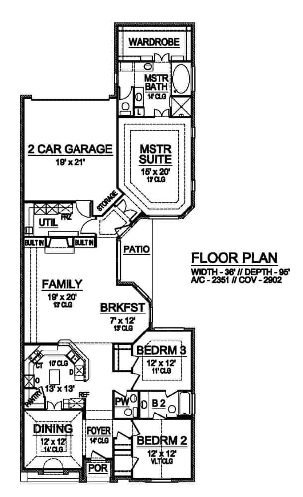 Main level floor plan of a 3-bedroom single-story traditional style home with foyer, formal dining room, kitchen, breakfast nook, family room, and utility room leading to the rear garage.