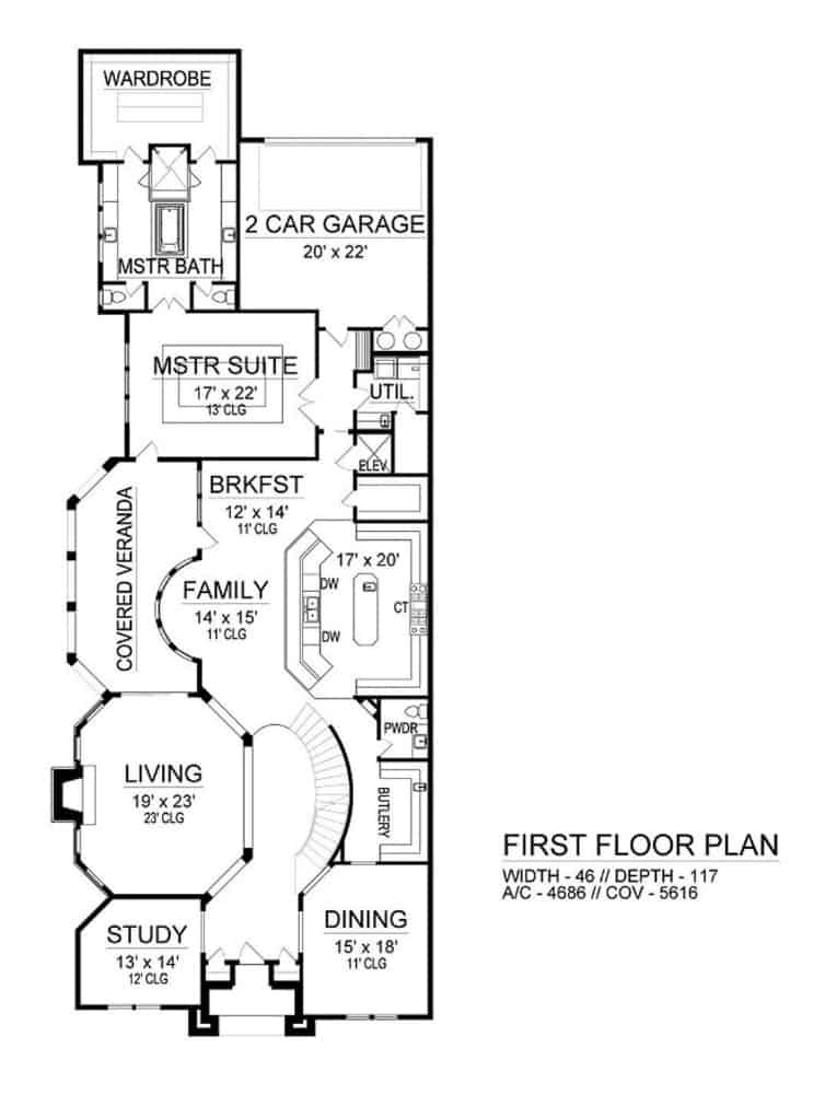 Main level floor plan of a 3-bedroom two-story contemporary home with foyer, formal dining room, living room, kitchen, breakfast nook, family room, study, utility, and primary suite with veranda access.