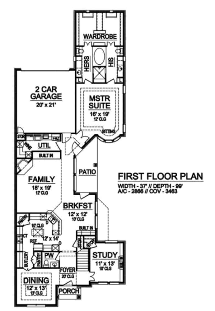 Main level floor plan of a 3-bedroom two-story traditional home with foyer, study, formal dining room, kitchen, family room, breakfast nook, utility room, primary suite, and rear double garage.