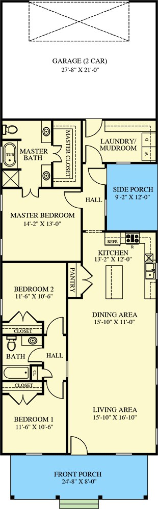 Main level floor plan of a single-story 3-bedroom cottage with living room, dining area, kitchen, and laundry/mudroom leading to the garage.